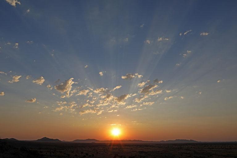 Sonnenuntergang am Camp Gecko, Namibia