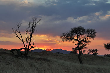 Sonnenaufgang im NamibRand Nature Reserve, Family Hideout, Camp Venus, Namibia