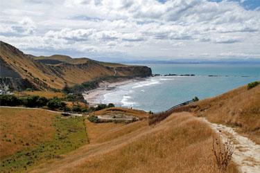 Blick zum Strand von Cape Kidnappers, Neuseeland