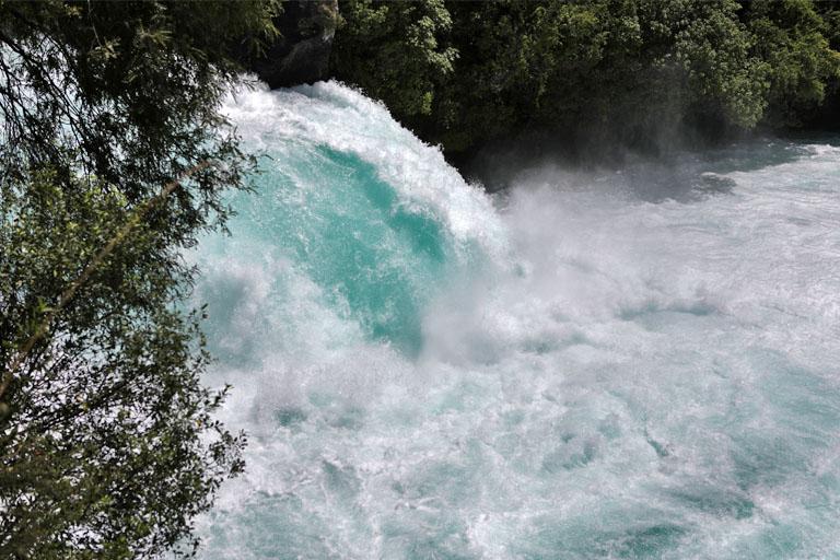 Nahaufnahme der Huka Falls, Neuseeland