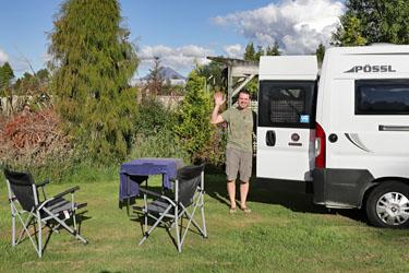Camping an der Tongariro Crossing Lodge, Neuseeland