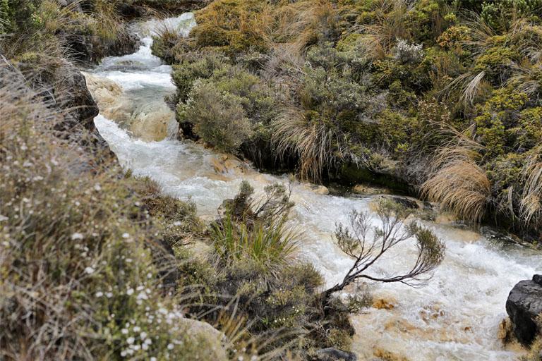 goldgelber Fluss an den Silica Rapids, Tongariro, Neuseeland