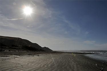 Marfells Beach Camp im Gegenlicht, Neuseeland