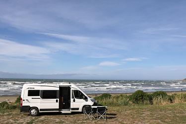 Campen am Marfells Beach, Neuseeland