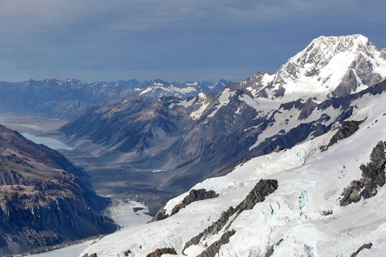 Helikopterflug über die Gletscher, Neuseeland