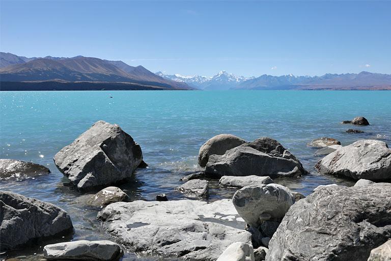 freedom camping am lake pukaki, blick zum aoraki mt. cook, neuseelan d