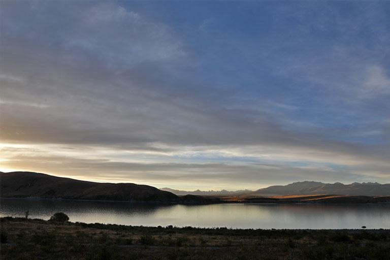 Sonnenuntergang am Lake Tekapo, Neuseeland