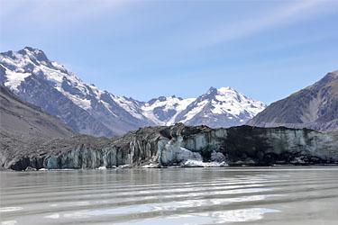 tasman lake, gletscher, aoraki mt. cook, neuseeland